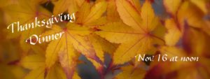 Thanksgiving Event Banner with Yellow Maple Leaves in Background