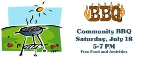 Banner for Community BBQ in July