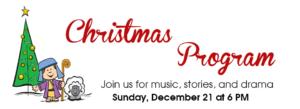 2015 Christmas Program on December 21 at 6 PM