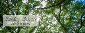Trees with Text overlay showing 10 AM Service Time on Sundays
