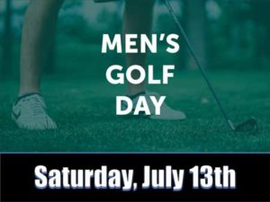 Banner of person with club golfing with text on top layer about Golf Day