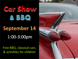car show and bbq text