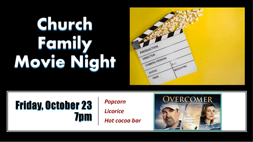 Movie Night Banner for Overcomer with Event Details